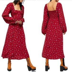 NWT Free People Iris Floral Midi Dress red